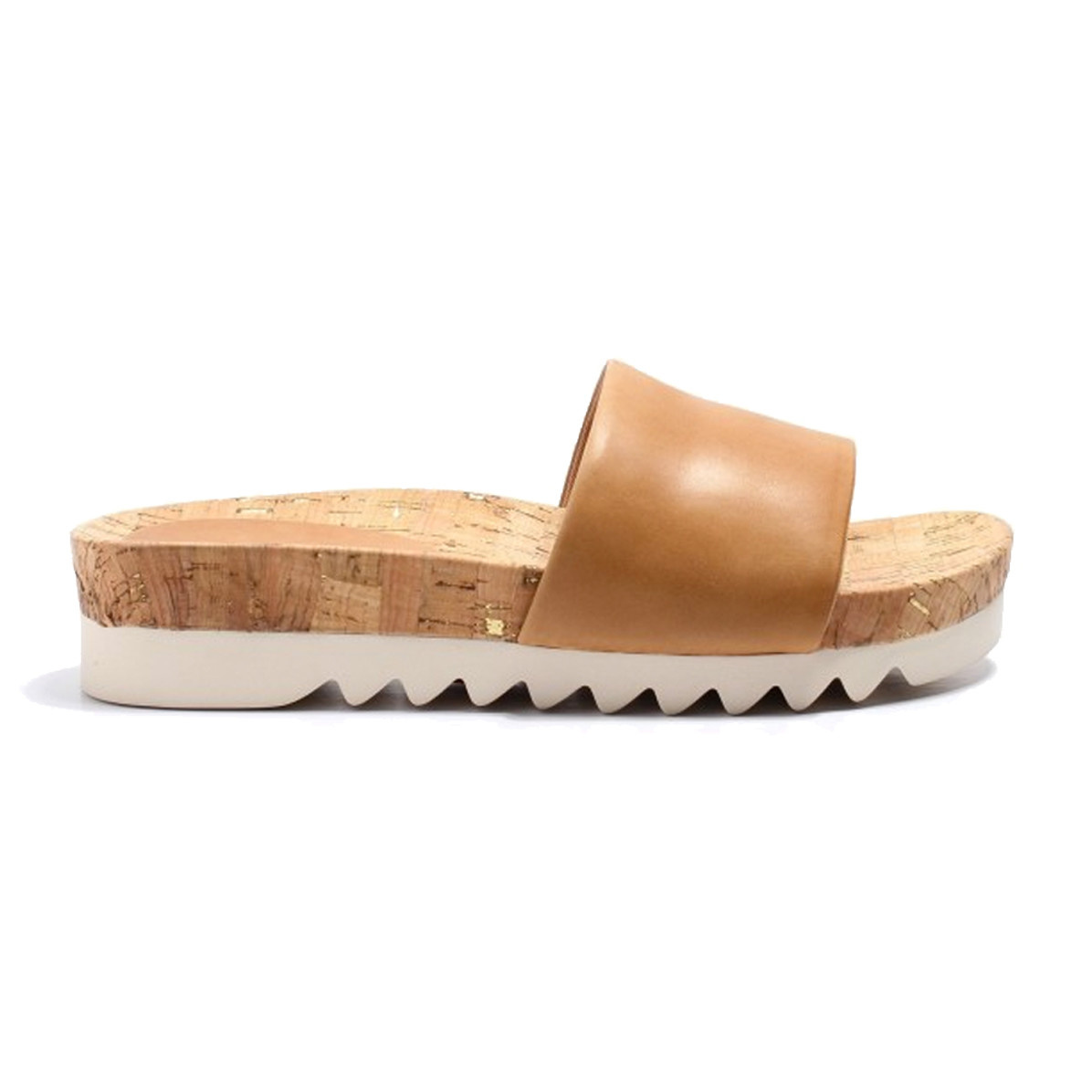 Rollie Rollie Sandal Slide Saw Tooth Wedge Tan