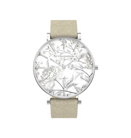 Victoria Emerson Neutral Floral Taupe Suede Watch