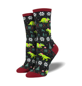 Socksmith Women's Cotton Blend Socks Santasaurus Rex