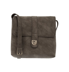 Joy Susan Rachel Nubuck Flip Lock Crossbody Charcoal