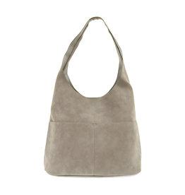 Joy Susan Jenny Faux Suede Handbag Stone Grey