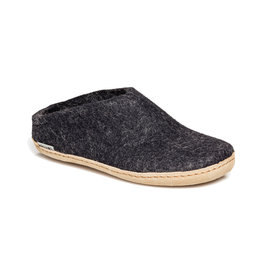 Glerups Women's Slipper Leather Sole Charcoal