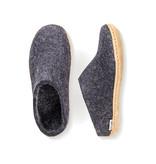 Glerups Glerups The Slipper Leather Sole Charcoal