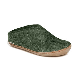 Glerups Women's Slipper Leather Sole Forest