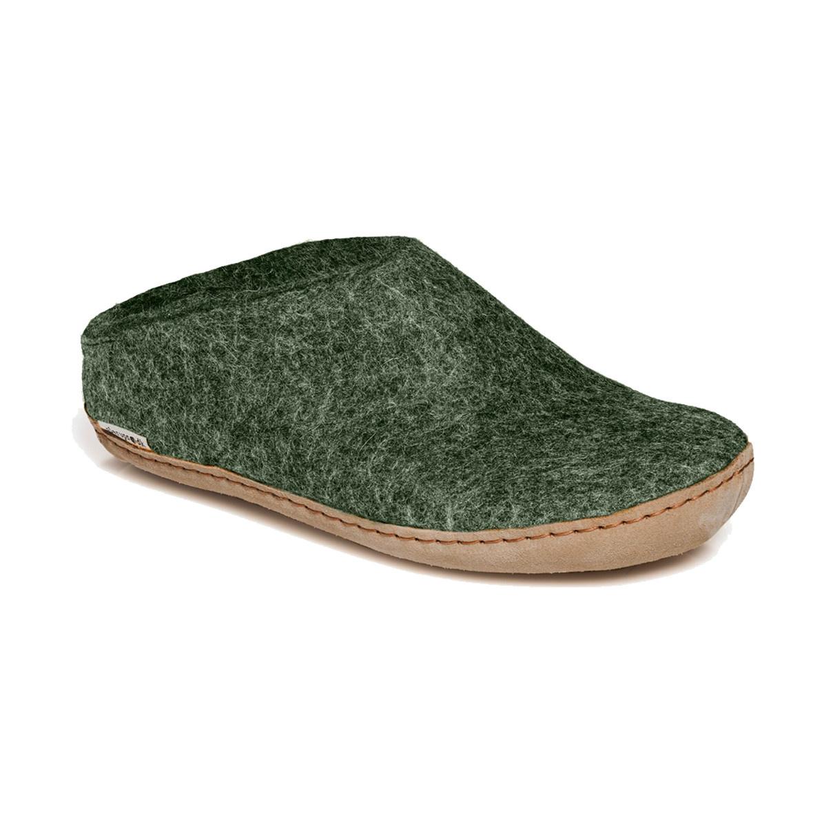 Glerups Glerups Women's Slipper Leather Sole Forest