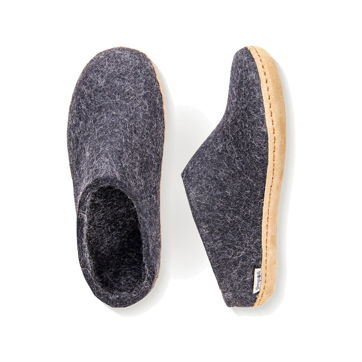 Glerups Glerups Men's Slipper Leather Sole Charcoal