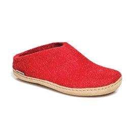 Glerups Women's Slipper Leather Sole Red