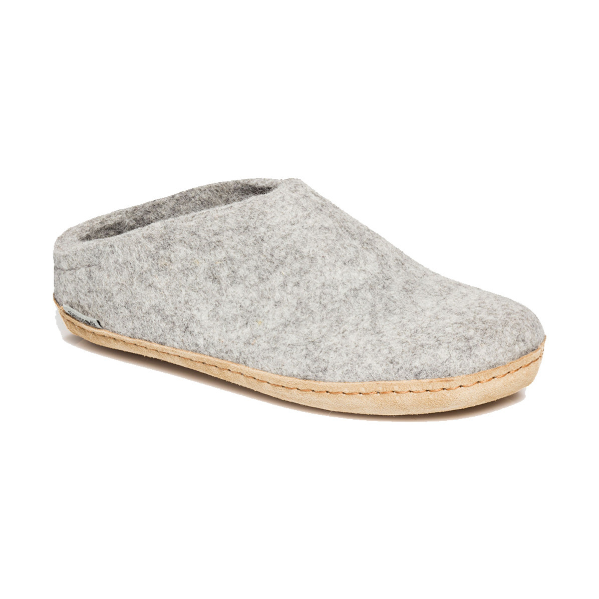 Glerups Glerups The Slipper Leather Sole Grey