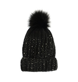 Joy Susan Sparkle Pom Pom Toque Black