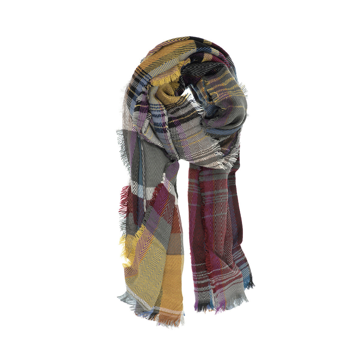 Joy Susan Joy Susan Multi Plaid Scarf Burgundy