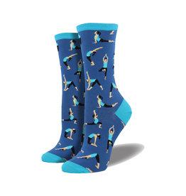 Socksmith Women's Cotton Blend Socks Yoga People Blueberry