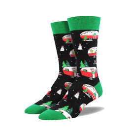 Socksmith Men's Cotton Crew Socks Christmas Campers