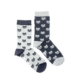 Friday Sock Co. Women's Grey Cats Crew W 5 - 10 (M - 4 - 8)