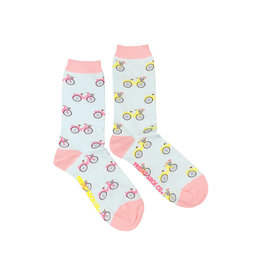 Friday Sock Co. Women's Pink & Yellow Bicycles Crew W 5 - 10 (M - 4 - 8)