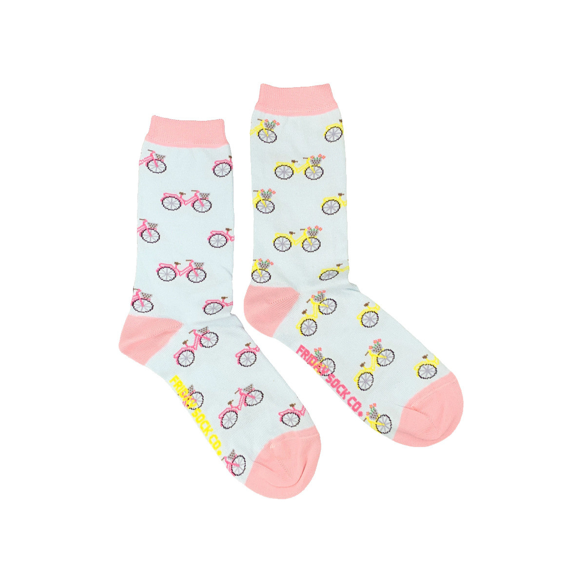 Friday Sock Co. Friday Sock Co. Women's Pink & Yellow Bicycles Crew W 5 - 10 (M - 4 - 8)