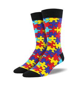 Socksmith Men's Cotton Crew Socks Puzzled