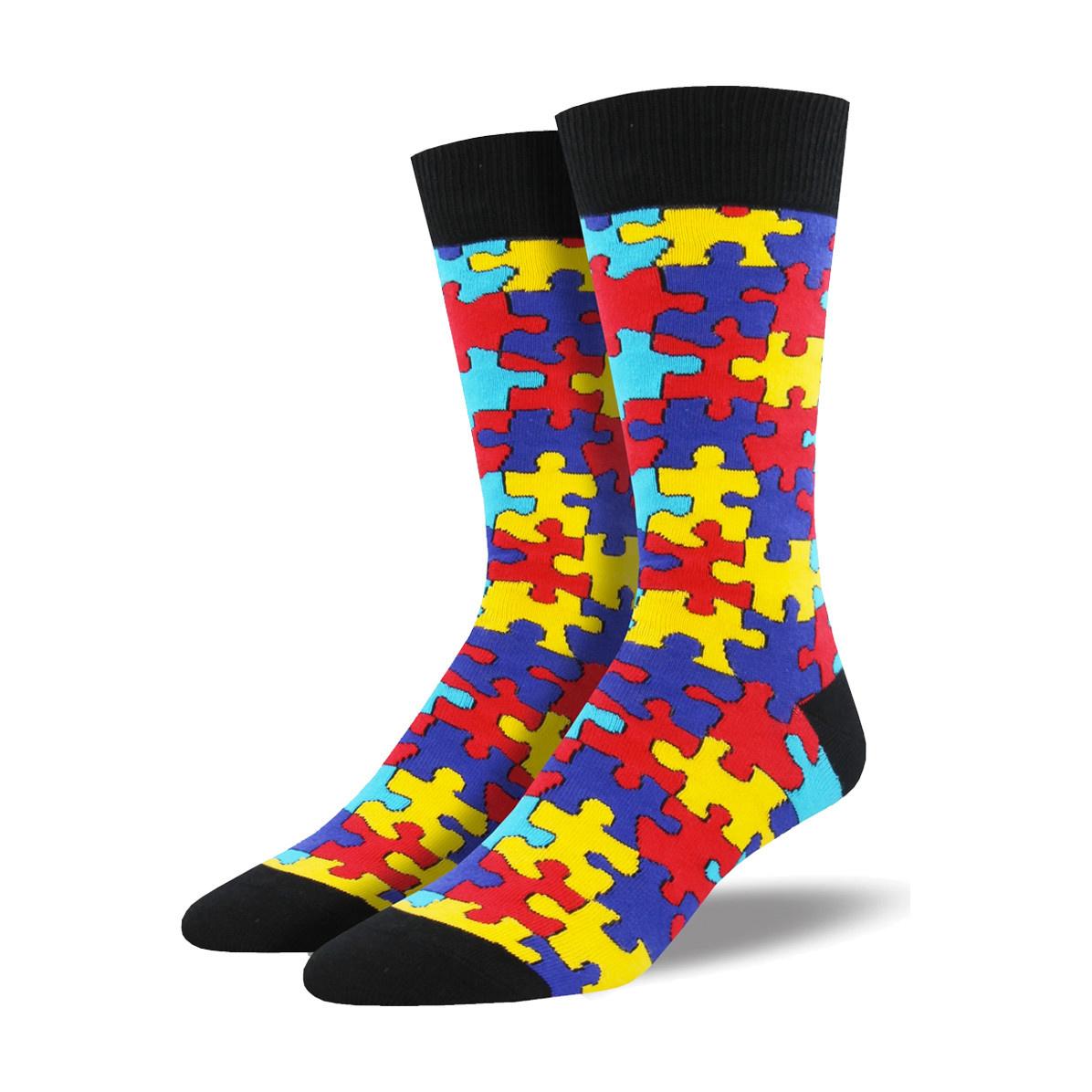 Socksmith Socksmith Men's Cotton Crew Socks Puzzled