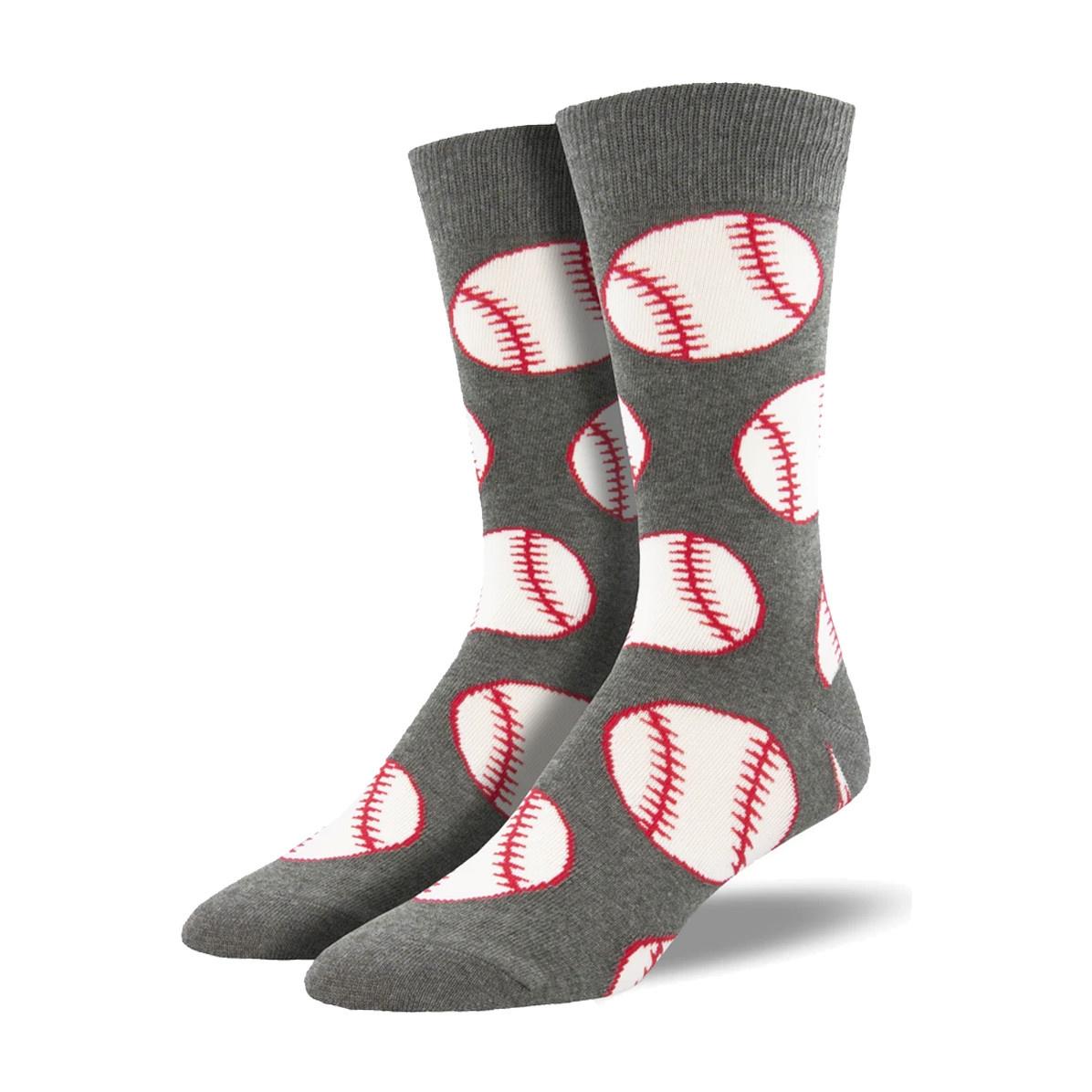 Socksmith Socksmith Men's Cotton Crew Socks Ball Game Grey