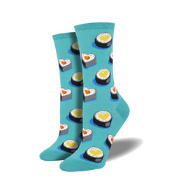Socksmith Women's Cotton Love at First Bite Teal W 5 - 10.5