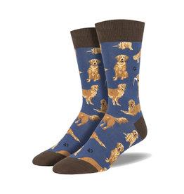 Socksmith Men's Golden Retrievers Blue M 7 - 12.5