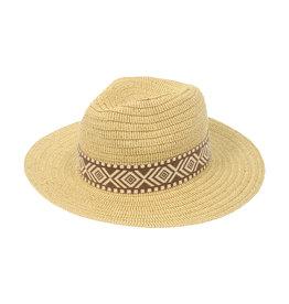 Joy Susan Natural Panama Hat w/ Brown Woven Band