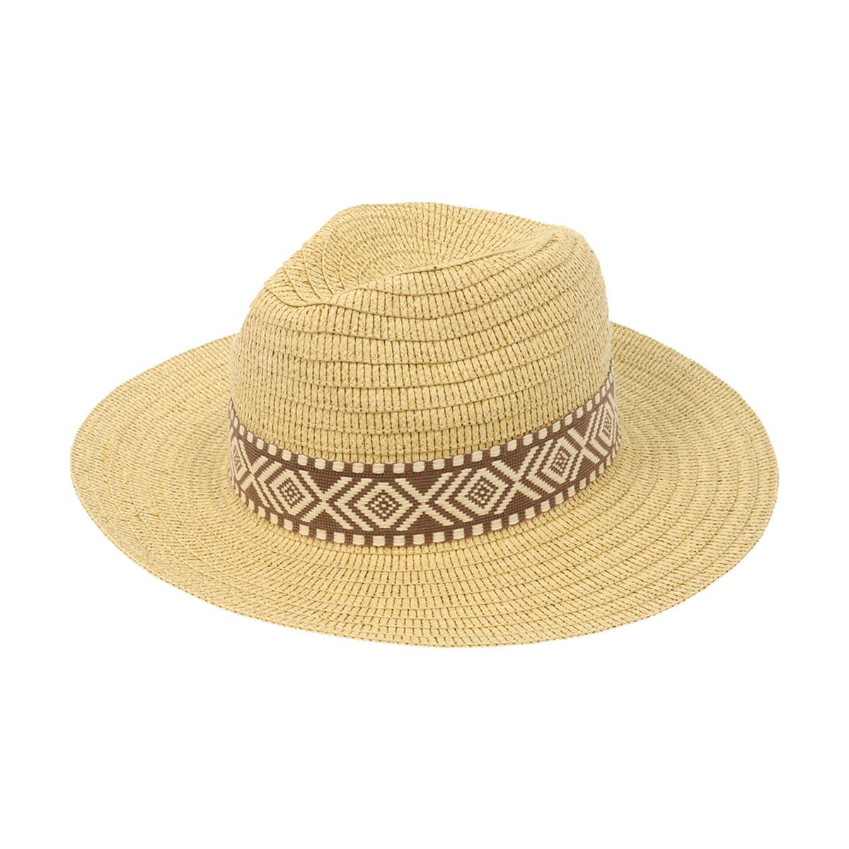 Joy Susan Joy Susan Natural Panama Hat w/ Brown Woven Band