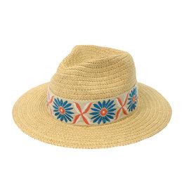 Joy Susan Natural Panama Hat w/ Embroidered Band
