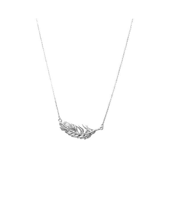 Joy Susan Rhodium Thunderbird Feather Necklace Silver