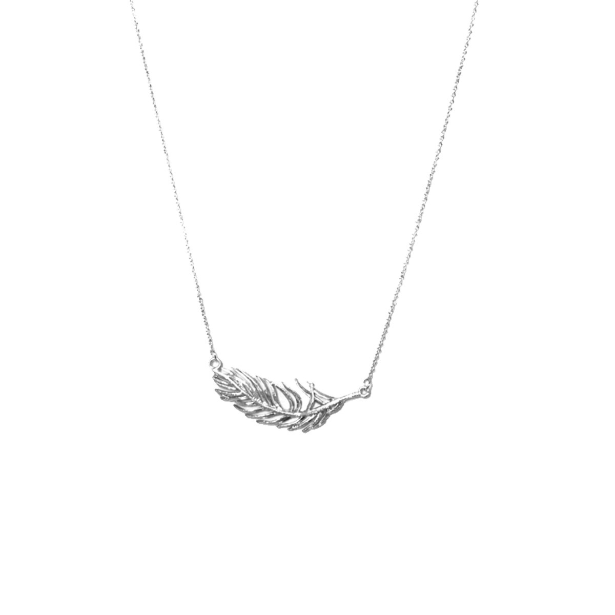 Joy Susan Joy Susan Rhodium Thunderbird Feather Necklace Silver