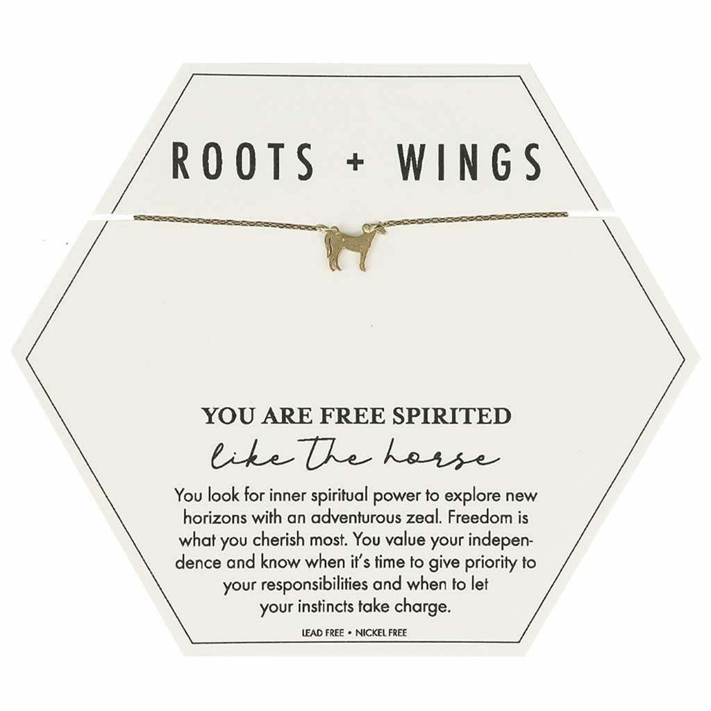 Mary Square Roots + Wings Horse Necklace