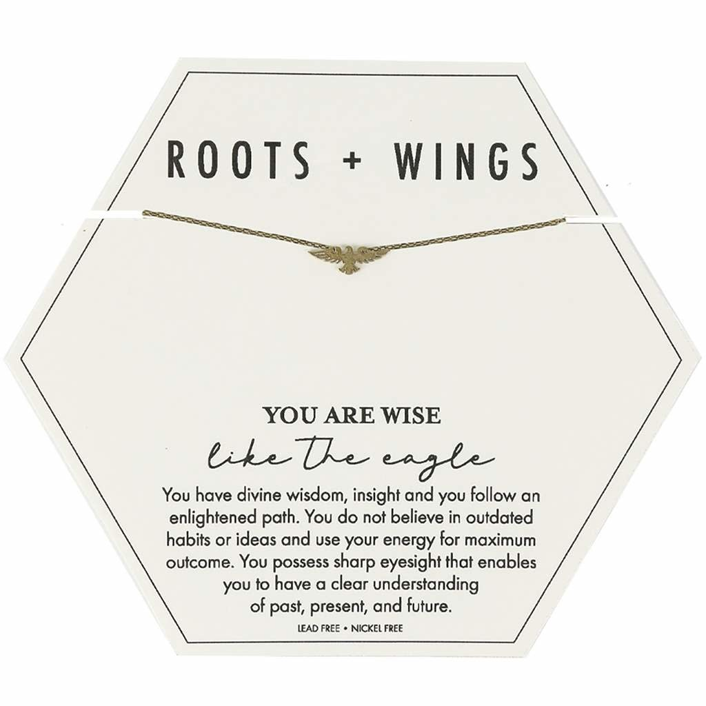 Mary Square Roots + Wings Eagle Necklace