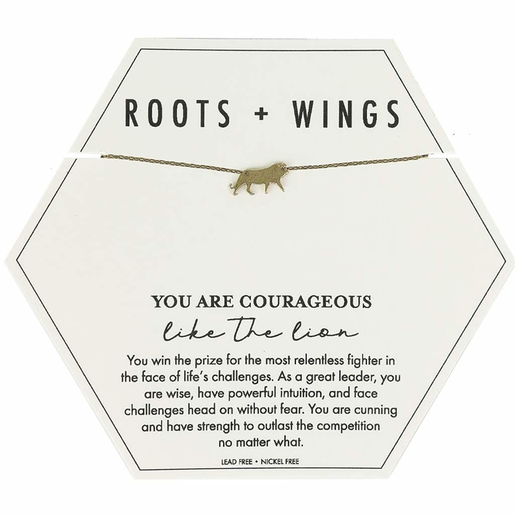 Mary Square Roots + Wings Lion Necklace