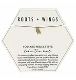 Mary Square Roots + Wings Owl Necklace