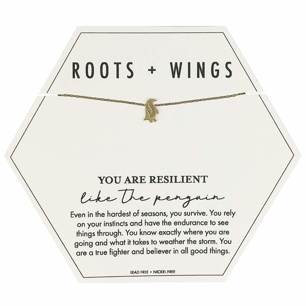 Mary Square Roots + Wings Penguin Necklace