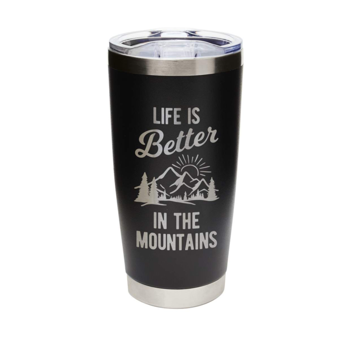 Mary Square Life is Better...Mountains Tumbler Black