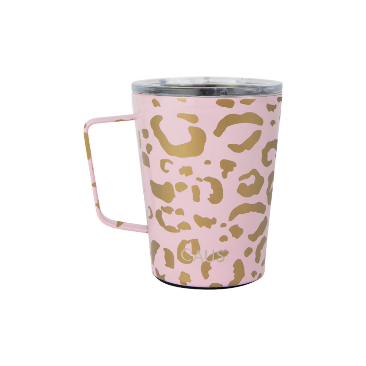 Caus Caus Tumbler with Handle Pink Leapord