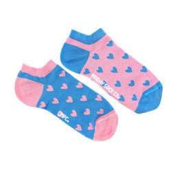 Friday Sock Co. Women's Pink & Blue Hearts Ankle W 5 - 10 (M - 4 - 8)
