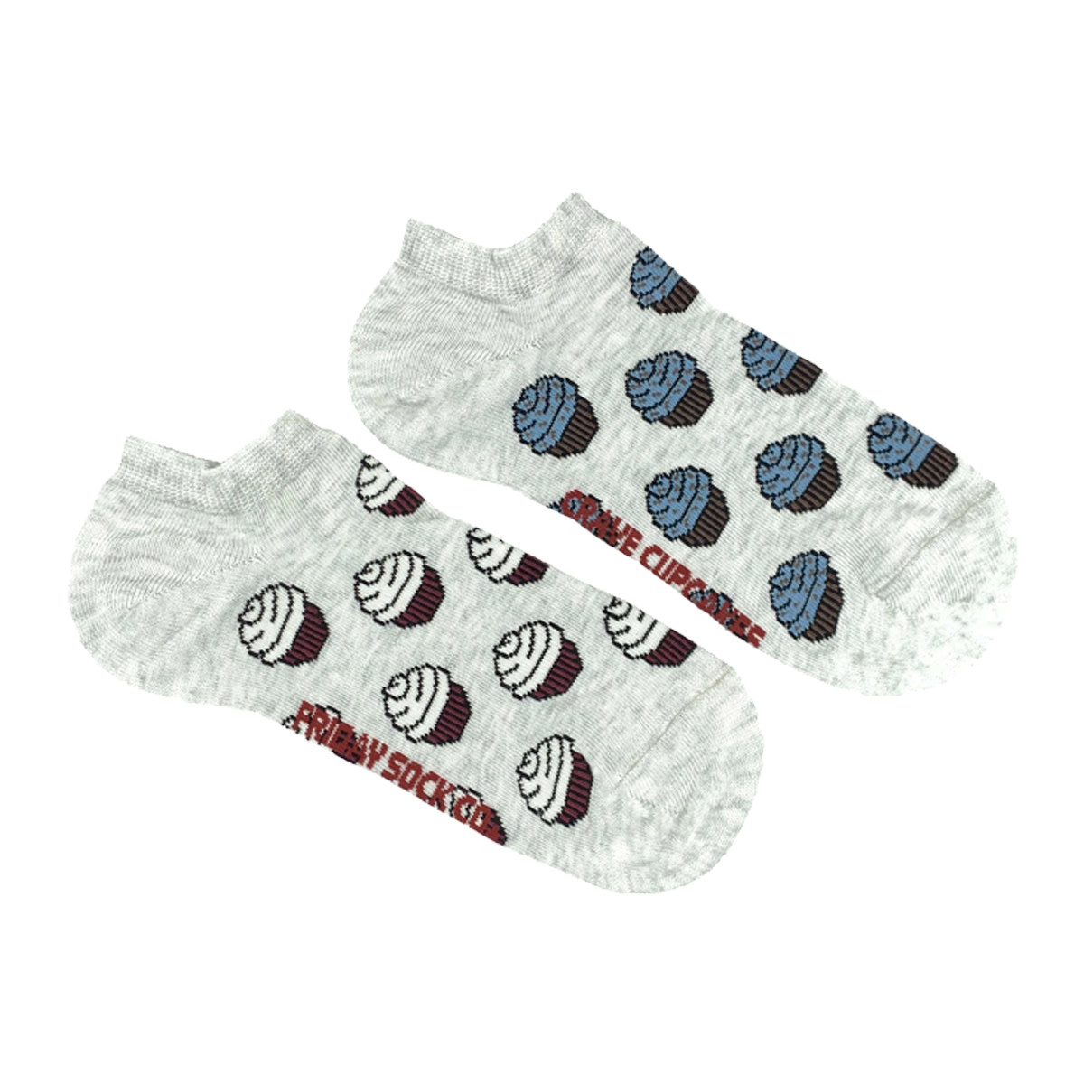 Friday Sock Co. Friday Sock Co. Women's Grey Crave Cupcakes Ankle W 5 - 10 (M - 4 - 8)