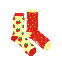 Friday Sock Co. Women's Inside Out Strawberry Crew W 5 - 10 (M - 4 - 8)