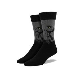 Socksmith Men's Cotton Crew Socks King Size Raptor Charcoal M 12 - 15