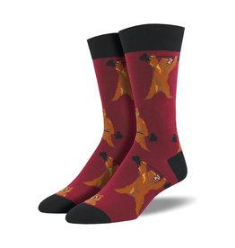 Socksmith Men's Cotton Crew Socks Bearbell Wine M 7 - 12.5