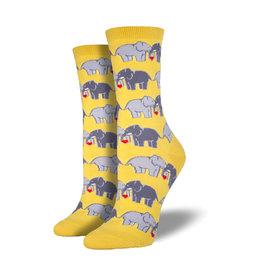 Socksmith Women's Cotton Blend Elephant Love Buttercup W 5 - 10.5