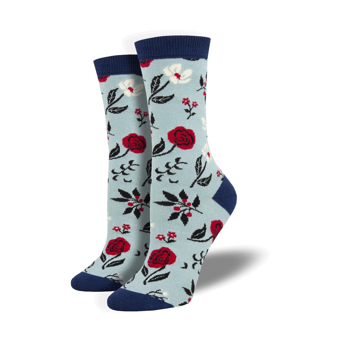 Socksmith Socksmith Women's Bamboo Socks Floral Motif Blue W 5 - 10.5