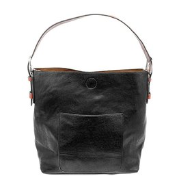 Joy Susan Classic Hobo Handbag Black with Cedar Handle