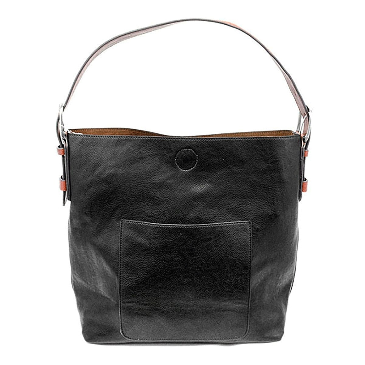 Joy Susan Joy Susan Classic Hobo Handbag Black with Cedar Handle