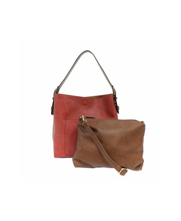 Joy Susan Classic Hobo Handbag Adobe Red
