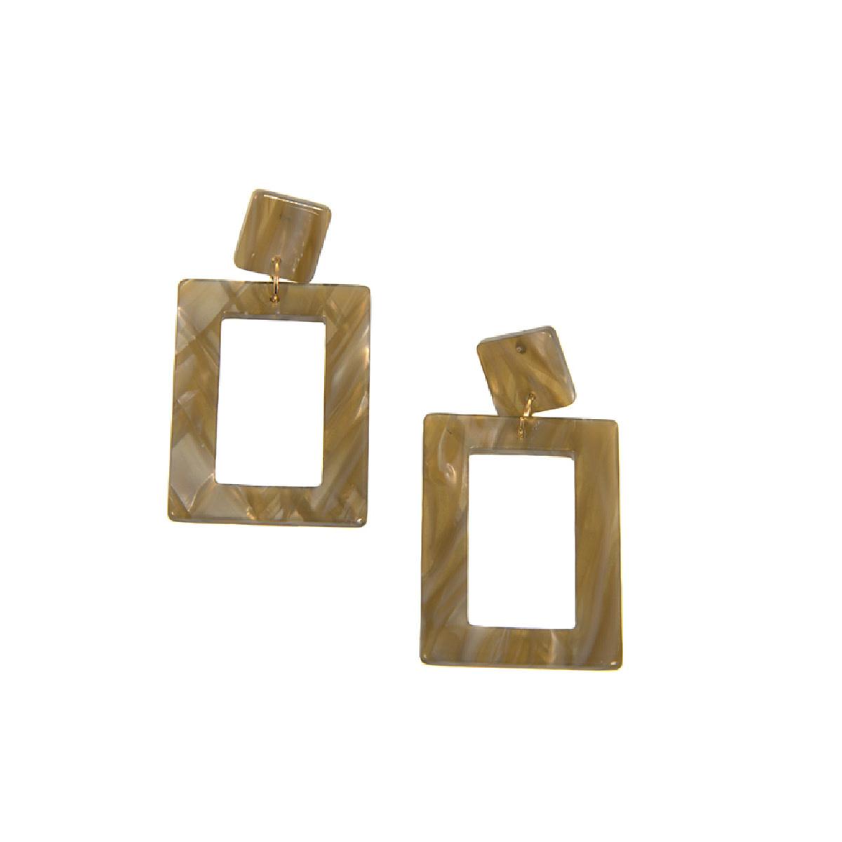 Joy Susan Joy Susan Resin Rectangle Natrual Earrings
