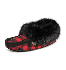 Laurentian Chief Women's Moccasins Red Plaid