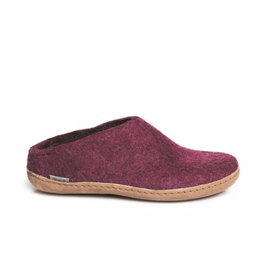 Glerups Women's Slipper Leather Sole Cranberry