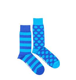 Friday Sock Co. Men's Blue Stripe & Dot  M 7 - 12 (W 8 - 13)